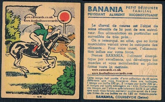 1930s Banania horse racing French trade card past the post